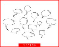 Set talk bubbles speech vector. Blank empty bubble icon design elements. Chat on line symbol template. Collection dialogue balloon stickers silhouette stock illustration