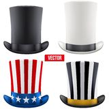 Set of tall gentleman hat cylinder. Vector Stock Image