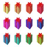 Set of Tall Gift Box with Red Ribbon Stock Photos
