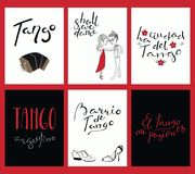 Set of cards with tango quotes royalty free illustration