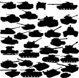 Set of tanks silhouettes Stock Photo