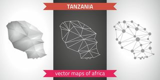 Tanzania set of grey and silver mosaic 3d polygonal maps. Graphic vector triangle geometry outline shadow perspective maps. Set of Tanzania polygonal mosaic Stock Photography