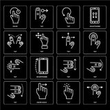 Set of Tap, Swipe icons. Set Of 16 icons such as Tap, Swipe right, Swipe, web UI editable icon pack, pixel perfect Royalty Free Stock Images