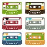 Set of tape cassette. In different colours. Vector illustration royalty free illustration