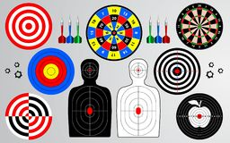 Set of target, shooting range, dart board. stock illustration