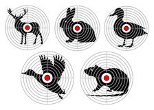 Set targets for animal shooting. Training hunting. vector.  Royalty Free Stock Photos