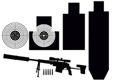 Set of targets and rifle Stock Image