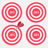Set of targets with sale percent sign. Stock Photo