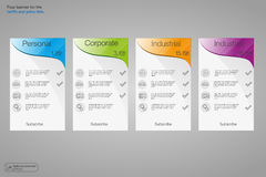 Set tariffs banners. Web pricing table. Vector design for web app. 4 colored banners. Royalty Free Stock Photography