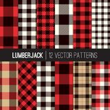 Lumberjack Plaid and Buffalo Check Seamless Vector Patterns in Red, Black, White and Tan. Set of 12 Tartan and Gingham Patterns. Trendy Hipster Style Vector Illustration