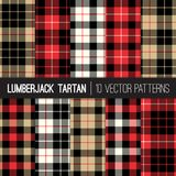 Lumberjack Tartan Plaid Vector Seamless Patterns in Red, Black, Tan and White. Royalty Free Stock Images