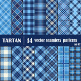 Set Tartan Seamless Pattern in blue tone Stock Photos
