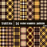 Set Tartan Seamless Pattern in golden and yellow colors stock illustration