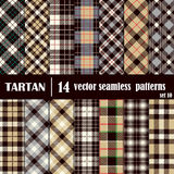 Set Tartan Seamless Pattern in gray and yellow  colors Stock Photography
