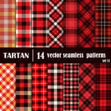 Set Tartan Seamless Pattern in red colors Stock Photography