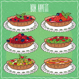 Set of tartlets in handmade cartoon style Royalty Free Stock Photo