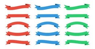 Set tasiemkowi sztandary Tasiemkowy sztandar Wektorowi faborki są czerwienią, błękitem i zielenią, ilustracji