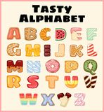 Set of tasty alphabet. Delicious, sweet, like donuts, glazed, chocolate, yummy, tasty, shaped alphabet font letters. Colorful royalty free illustration