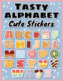 Set of tasty alphabet stickers. Delicious, sweet, like donuts, glazed, chocolate, yummy, tasty, shaped alphabet label font letters stock illustration