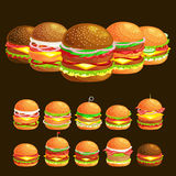 Set of tasty burger grilled beef and fresh vegetables dressed with sauce in bun for snack or lunch, hamburger is Royalty Free Stock Image