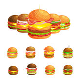 Set of tasty burgers grilled beef and fresh vegetables dressed with sauce bun for snack, american hamburger fast food Royalty Free Stock Image