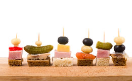 Set of tasty canape Royalty Free Stock Image