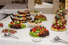 Set of tasty canape, on a plate of greens, tomatoes, peppers, cheese. Stock Photography