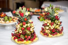 Set of tasty canape, on a plate of greens, tomatoes, peppers, cheese. Royalty Free Stock Photo