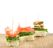 Set of tasty canape from seafood Stock Photography