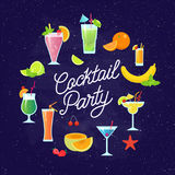Set of tasty colorful cocktails vector flat design isolated on dark blue background. Summer cocktails and fruits vector. Banner with lettering. Invitation to Vector Illustration
