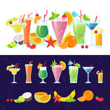 Set of tasty colorful cocktails vector flat design isolated on white background. Summer cocktails and fruits vector. Banner on dark background Royalty Free Stock Photography