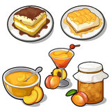 Set of tasty dishes made from apricot Royalty Free Stock Images