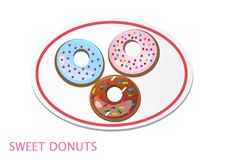 Set of tasty donuts in plate on white background. Royalty Free Stock Photo