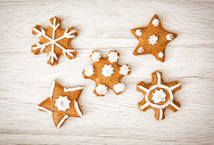 Set of tasty gingerbread stars, Christmas theme Royalty Free Stock Images