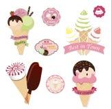 Set of tasty ice cream. Isolated on white background Royalty Free Stock Photo