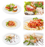 Set of tasty italian food isolated on white background. Distant and close-up : brusketta with different fillings; pasta with sauce bolognese; Cannoli. Sicilian Royalty Free Stock Photos