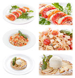 Set of tasty italian food isolated on white background. Distant and close-up : salmon and cheese appetizer; pasta with tomato and  cheese; apple piel  with ice Stock Images