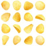 Set of tasty ridged potato chips stock photos