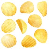 Set of tasty ridged potato chips on white stock image