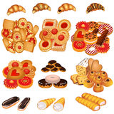 Set tasty sand cookies and cake Royalty Free Stock Photos