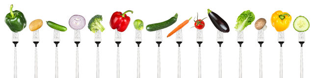 Set of tasty vegetables on forks Royalty Free Stock Photos