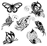 Set of tattoo butterflies Royalty Free Stock Photography