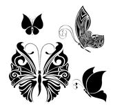 Set of tattoo butterflies Royalty Free Stock Photos