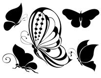 Set of Tattoo butterflies Royalty Free Stock Images