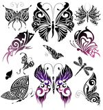 Set of Tattoo butterflies. Tattoo design Stock Image