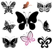 Set of Tattoo butterfly Royalty Free Stock Photo