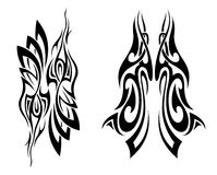 Set of tattoo design elements. Tattoo set tribal abstract design shape Royalty Free Stock Images