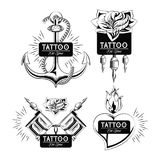 Set of tattoo design emblems in black and white. Set of tattoo design emblems collection vector illustration graphic Vector Illustration