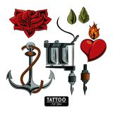 Set of tattoo drawings. Elements collection vector illustration graphic Stock Illustration