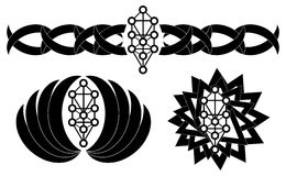 Set of tattoo with Sephiroth tree in black. Image representing the sephiroth tree, the ancient esoteric and cabalistic symbol representing the ten emanations of vector illustration